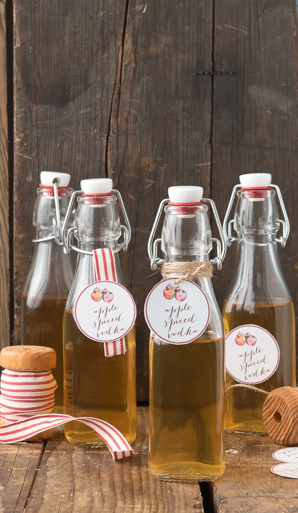 Homemade Apple Spiced Vodka (with printable gift tags)