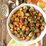Herb Roasted Garlic Brussels Sprouts, Sweet Potatoes and Carrots