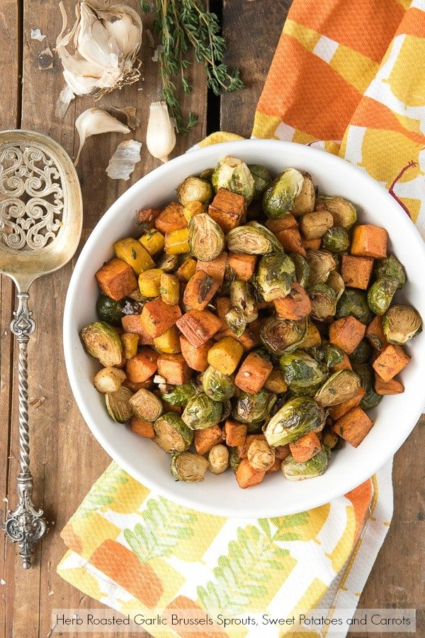 Herb Roasted Garlic Brussels Sprouts, Sweet Potatoes and Carrots ...