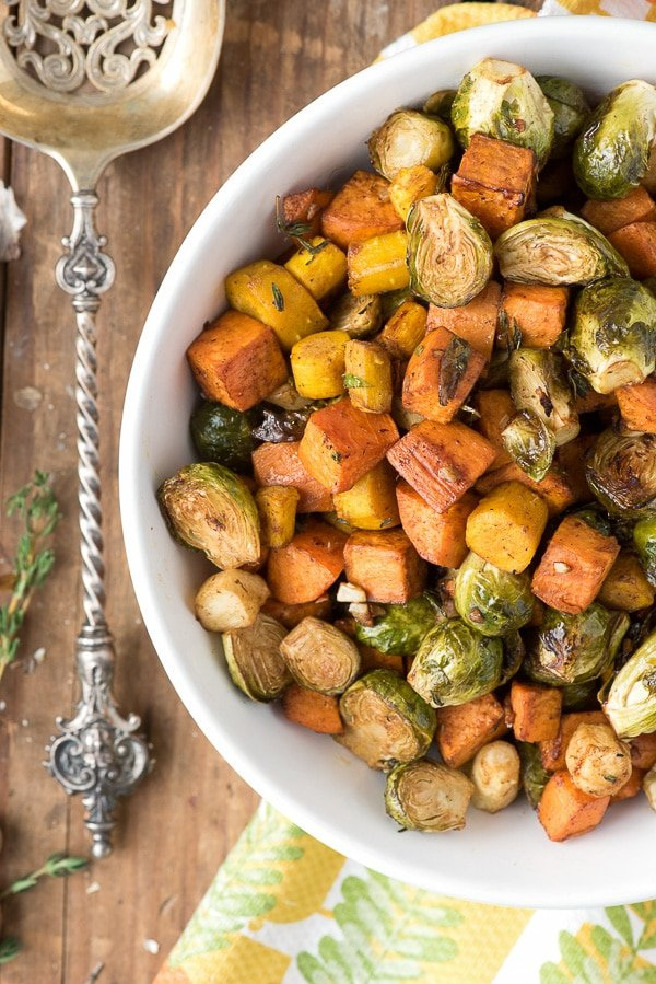 Herb Roasted Garlic Brussels Sprouts Sweet Potatoes and Carrots - BoulderLocavore.com