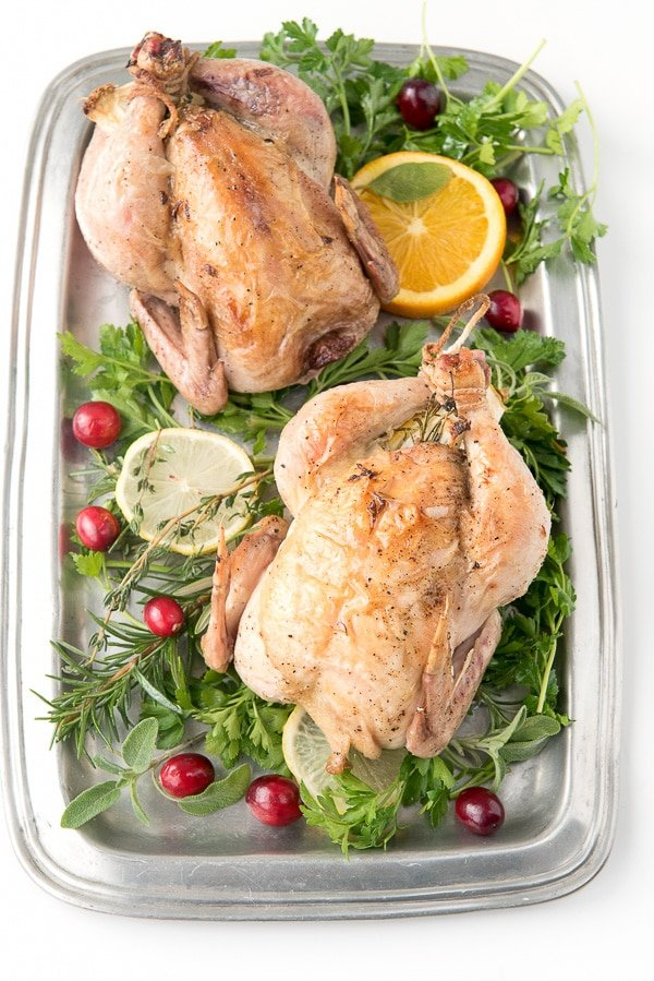Lemon Herb Roasted Cornish Game Hens (2) served on a platter with greens, cranberries and citrus slices
