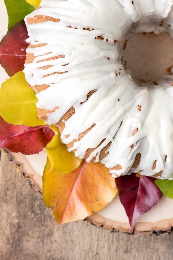 Persimmon Winter Bundt Cake with Hard Sauce Glaze close up