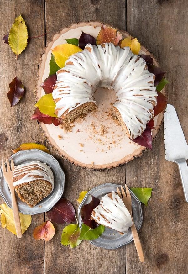 Persimmon Winter Bundt Cake with Hard Sauce Glaze slices