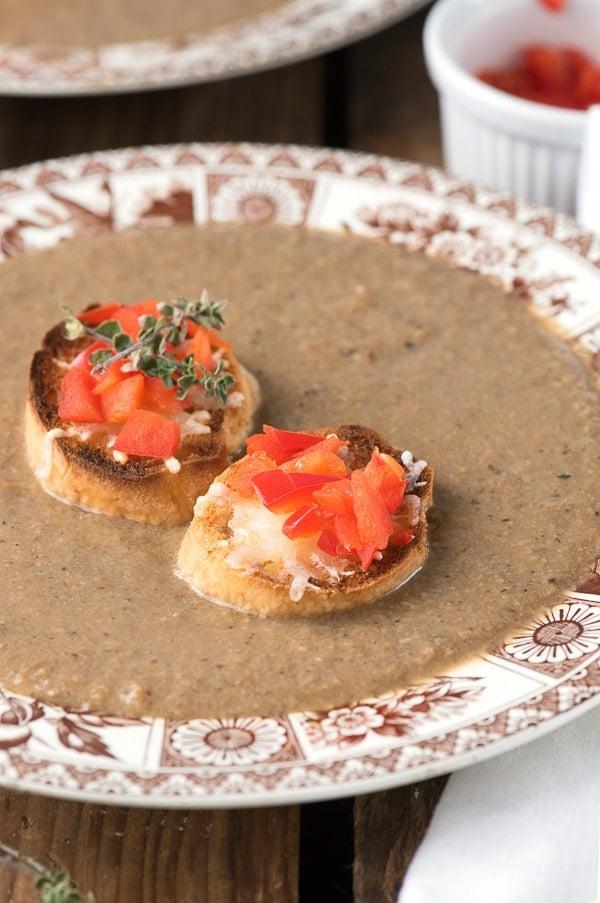 Rustic Wild Mushroom Soup with Parmesan Crostini - BoulderLocavore.com