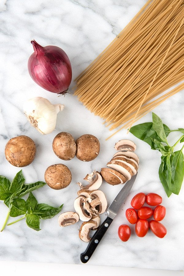 Spicy One Pot Gluten-Free Tomato Mushroom Basil Pasta ingredients - BoulderLocavore.com