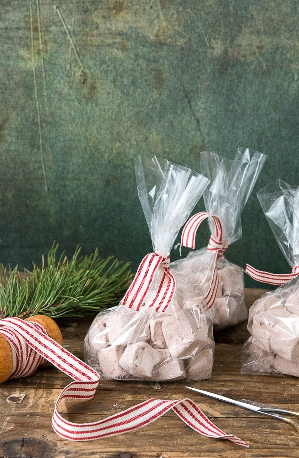 Bags of Homemade Vanilla-Coffee Liqueur Marshmallows. A great treat, in hot cocoa or for gifts! - BoulderLocavore.com