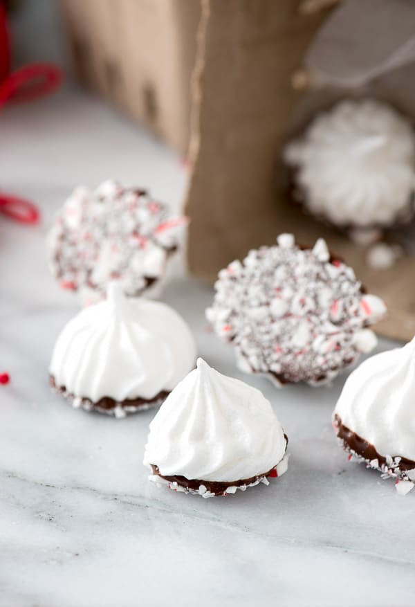 Chocolate Peppermint Dipped Meringue Cookies BoulderLocavore.com