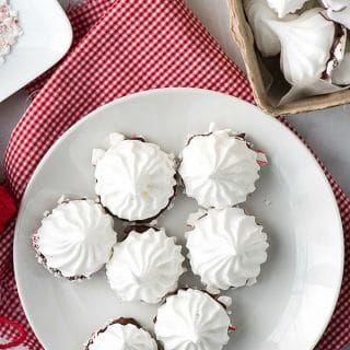 Chocolate Peppermint Dipped Meringues