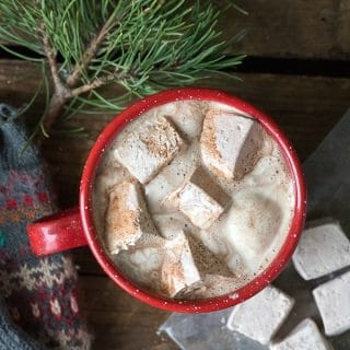 Homemade Vanilla-Coffee Liqueur Marshmallows in cup of covoa