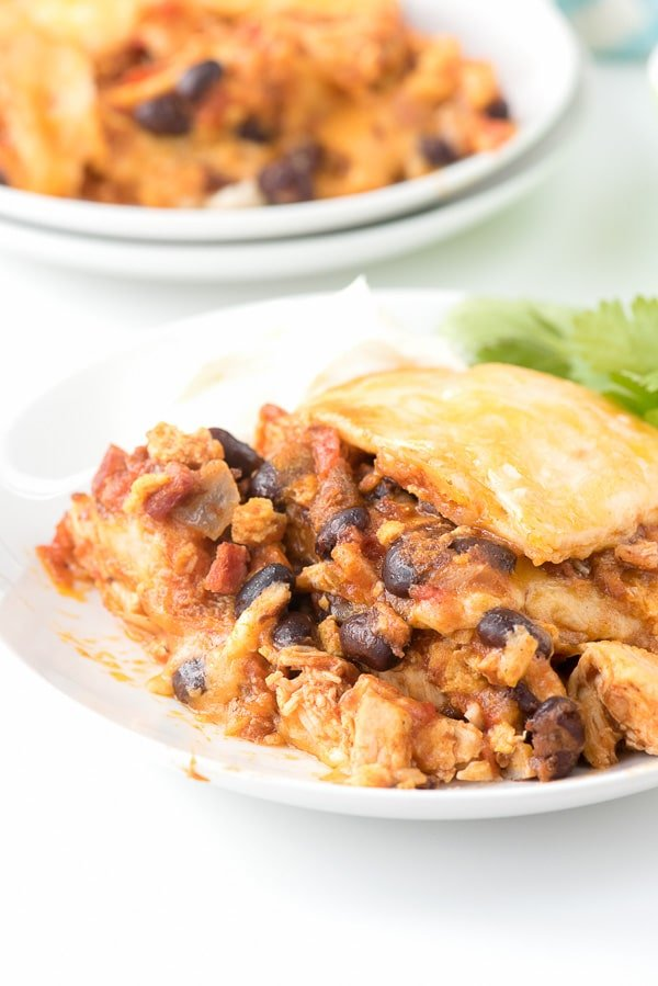 Mexican Breakfast Chicken Tortilla Lasagna Casserole - BoulderLocavore.com