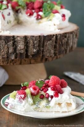 Pavlova with Kiwi, Raspberry, Pomegranate and Mint