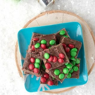 Snow Day Chocolate-Toffee Holiday Fudge. Creamy chocolate, toffee bits and M&M's make this fudge recipe great any day! - BoulderLocavore.com