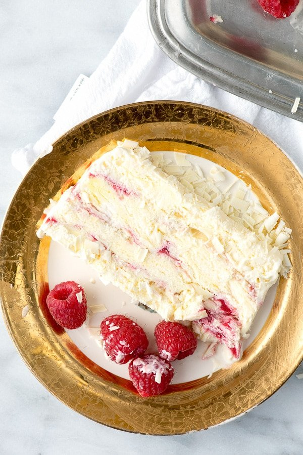 White Chocolate Raspberry Semifreddo. A light, airy, creamy frozen dessert rippled with white chocolate and raspberry. - BoulderLocavore.com