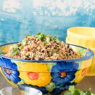 titled image - colorful bowl of Cuban Black Beans and Rice (Moros y Cristianos).