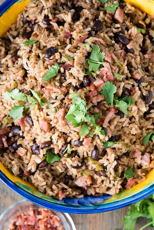 top down view looking into a bowl of Cuban Black Beans and Rice (Moros y Cristianos).
