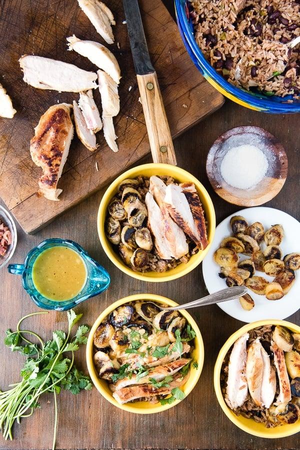 Cuban Garlic Chicken Bowls with Cuban Black Beans & Rice, Fried Plantains & Mojo Sauce (recipe) - BoulderLocavore.com