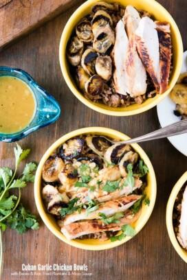 2 Cuban Garlic Chicken Bowls with Cuban Black Beans & Rice, Fried Plantains & Mojo Sauce