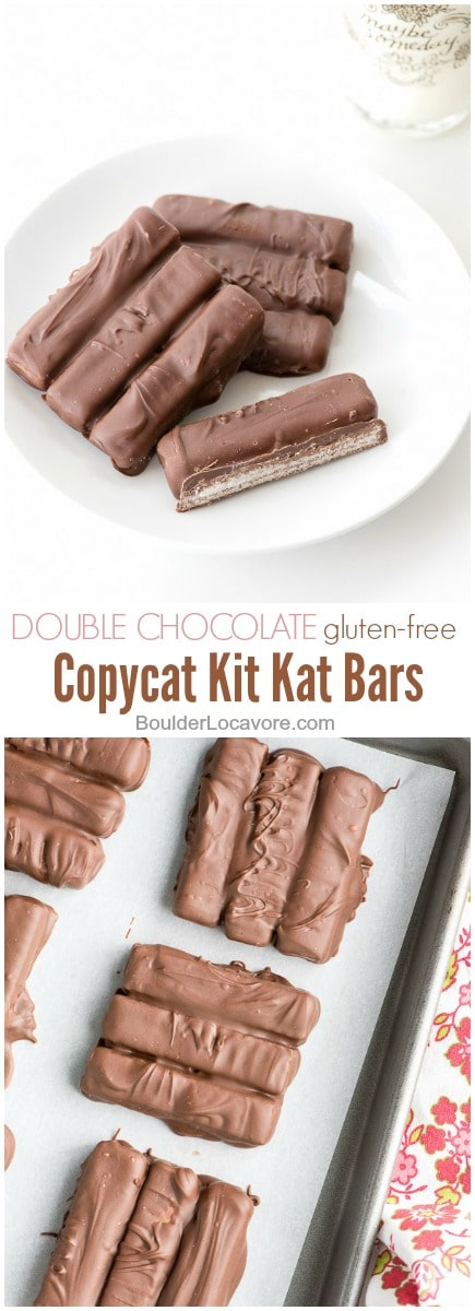 photo collage of Double Chocolate Copycat Kit Kat Bars
