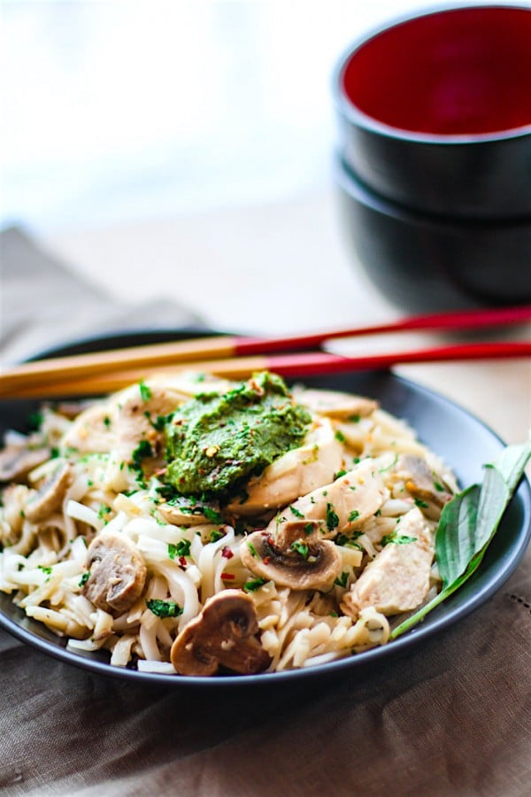 Thai Pesto Chicken Gluten-Free Noodle Bowl by CotterCrunch.com
