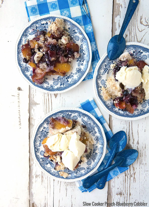 Slow Cooker Peach-Blueberry Cobbler with French Vanilla Ice Cream - BoulderLocavore.com