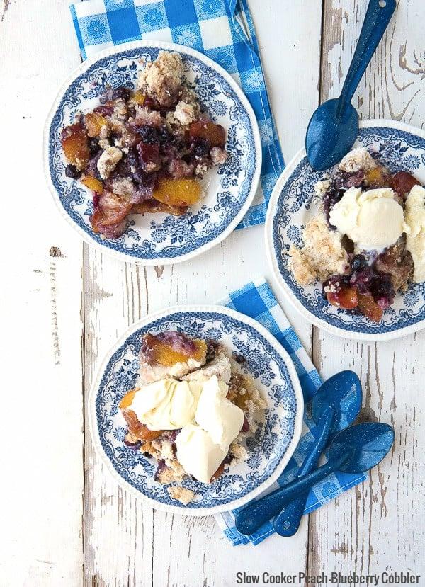 Slow Cooker Peach-Blueberry Cobbler with French Vanilla Ice Cream - BoulderLocavore.com