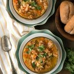 Slow Cooker Spicy Chorizo Green Chile Cannellini Bean Soup