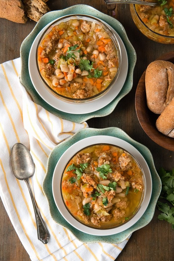 Slow Cooker Spicy Chorizo Green Chile Cannellini Bean Soup. A perfect, lightly spicy, soul-warming soup! - BoulderLocavore.com
