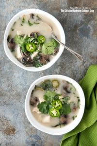 titled photo - 2 bowls of Slow Cooker Thai Chicken Mushroom Coconut Soup on a granite background.
