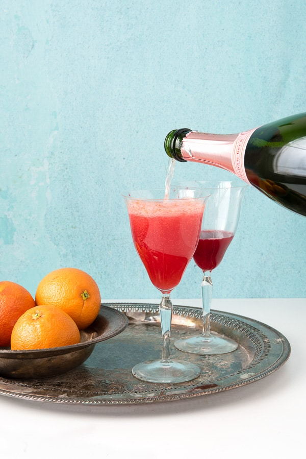 Blood Orange Mimosas with Brut Rose Sparkling Wine - BoulderLocavore.com
