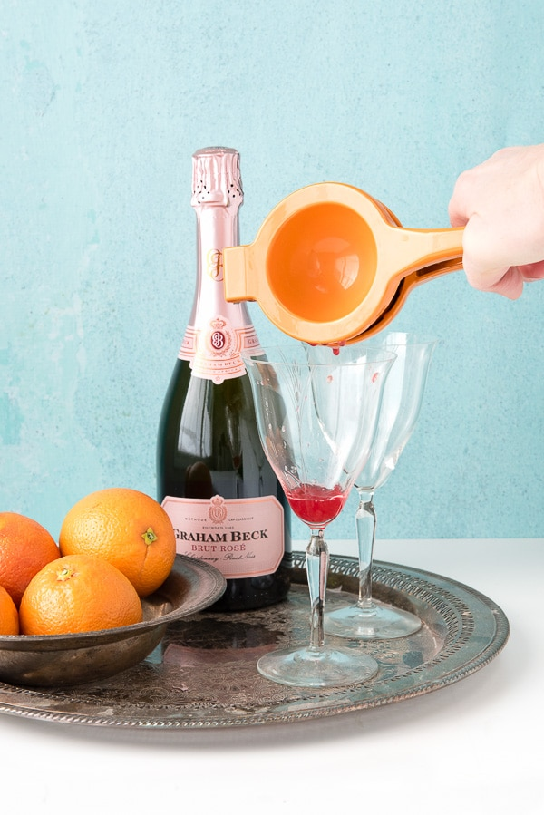 Blood Orange Mimosas with orange juicer