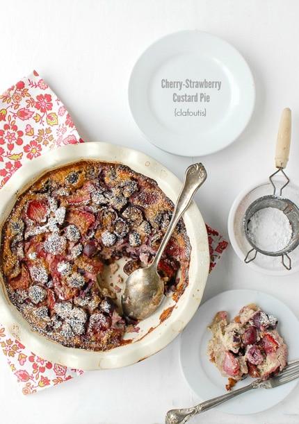 Cherry-Strawberry Custard Pie in a beige pie plate