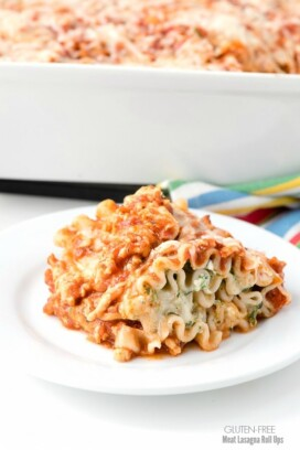 small white plate holds a Gluten-Free Meat Lasagna Roll Up