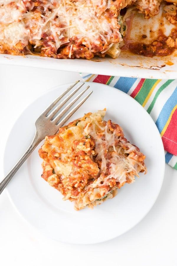 overhead photo of Gluten-Free Meat Lasagna Roll Ups