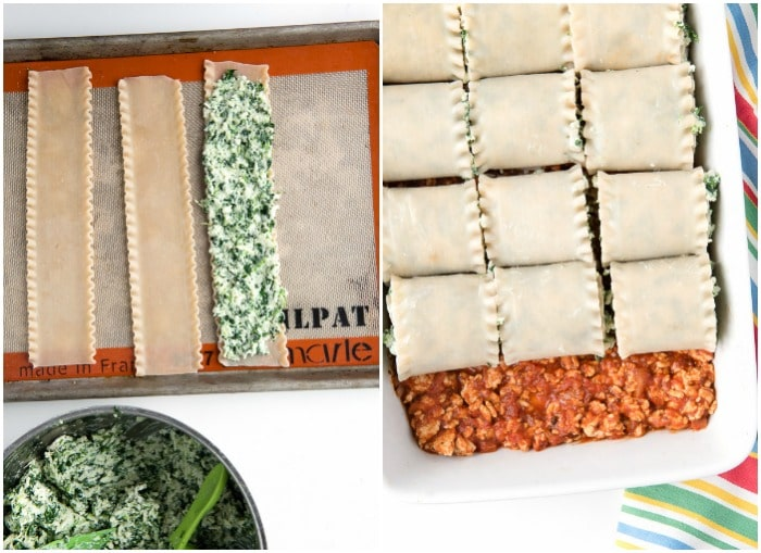 photo collage showing how to make Gluten-Free Meat Lasagna Roll Ups
