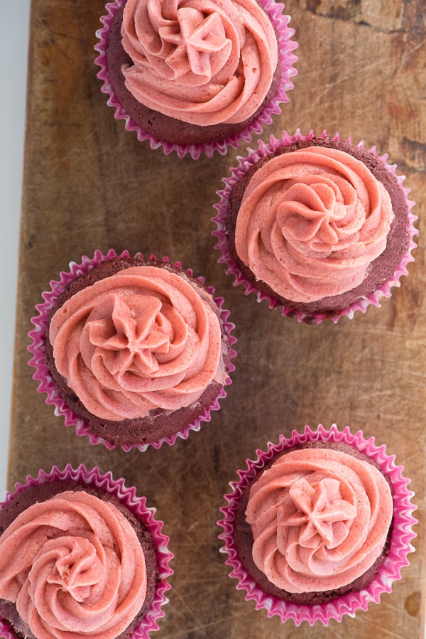 Gluten-Free Pink Velvet Cupcakes with Real Strawberry Buttercream Frosting - BoulderLocavore.com