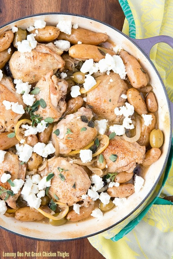 Lemony One Pot Greek Chicken Thighs. Succulent chicken thighs, cooked ...