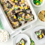 Mint Chocolate Leprechaun Bait Bars baked into a white rectangular baking dish