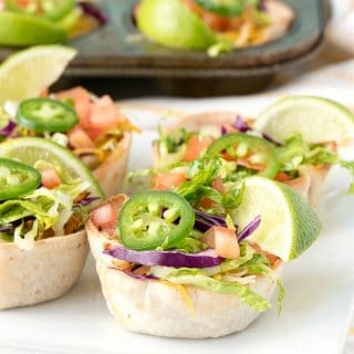 white plate of Muffin Tin Mexican Bowls