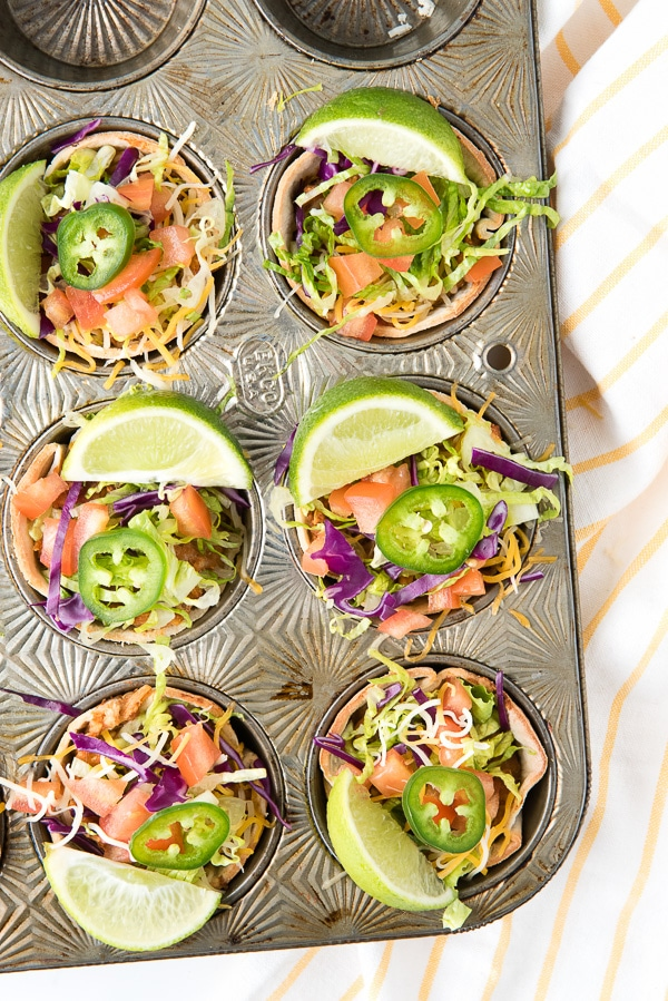 Decorative muffin tin with 6 Muffin Tin Mexican Bowls.