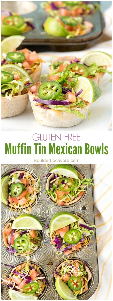 Muffin Tin Mexican Bowls. Shredded chicken, refried beans, salsa and cheese topped with fresh taco toppings. Perfect for single portions or party appetizers! - BoulderLocavore.com