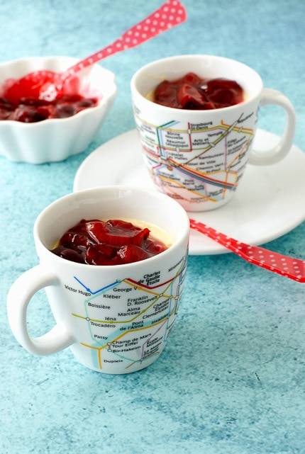 No Bake Vanilla Bean Pots de Creme with fresh Cherry Sauce in French Metro cups
