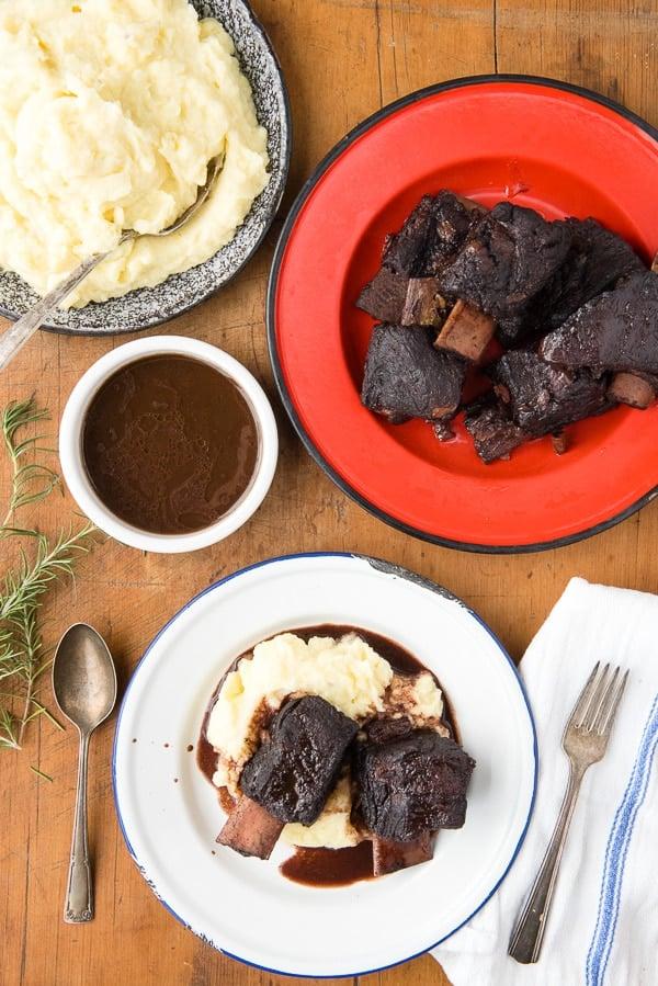 Red Wine Braised Beef Short Ribs with Yukon Gold Garlic Whipped Potatoes (recipe) - BoulderLocavore.com