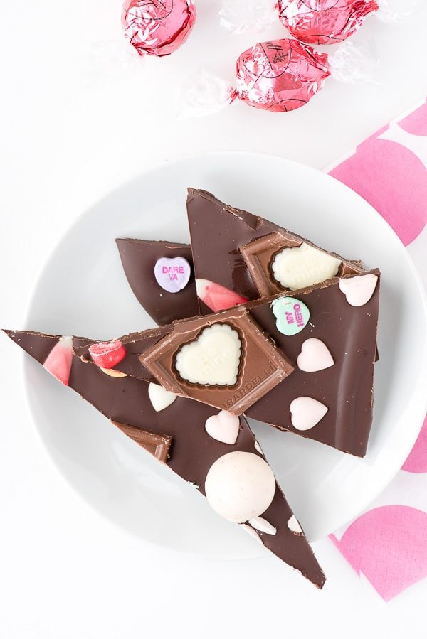 Sweetheart Bark Valentine\'s Candy Chocolate Bark with assorted Valentine\'s candy