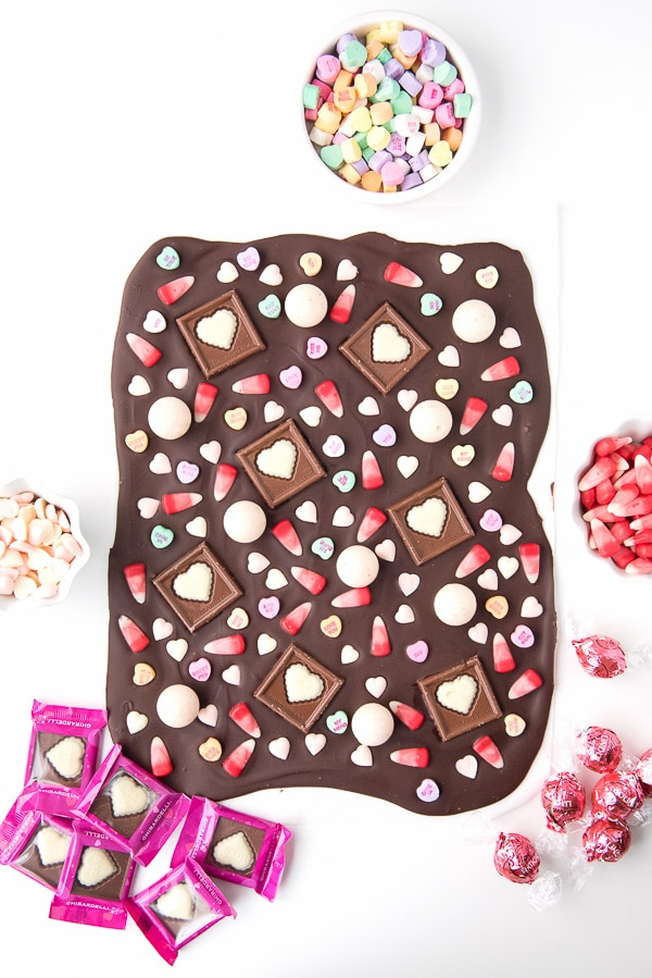 Chocolate Bark topped with an assortment of Valentine\'s candy