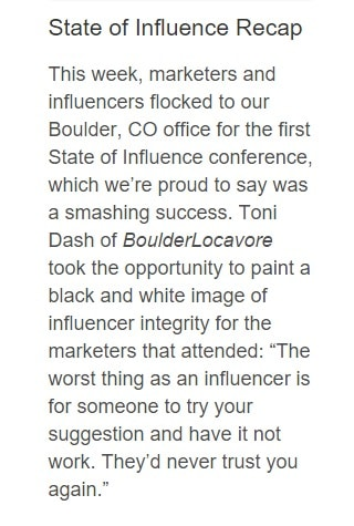 Tapinfluence State of Influence Conference quote BoulderLocavore.com