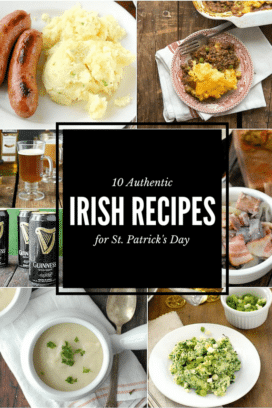 titled photo collage of 10 Authentic Irish Recipes for St. Patrick's Day