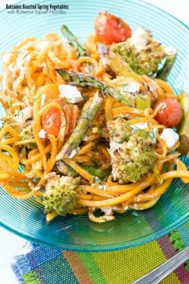 titled photo - Balsamic Roasted Spring Vegetables with Butternut Squash Noodles