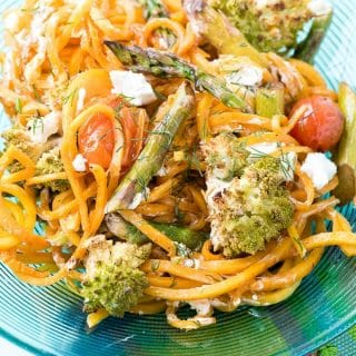 dinner plate of Balsamic Roasted Spring Vegetables with Butternut Squash Noodles