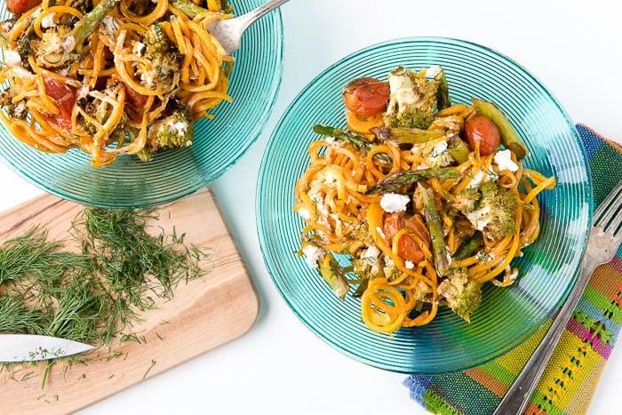 Balsamic Roasted Spring Vegetables with Butternut Squash Noodles - BoulderLocavore.com