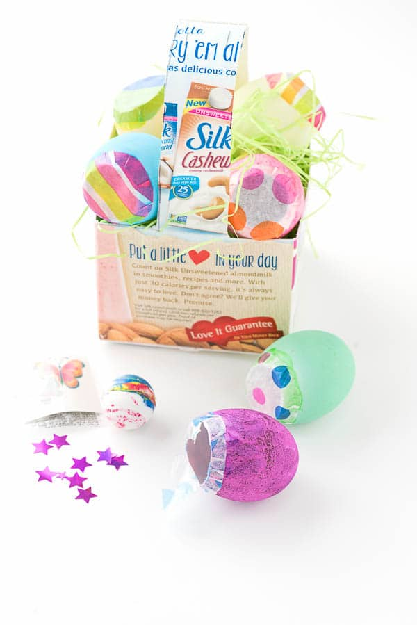 DIY Milk Carton Basket decorated for Easter